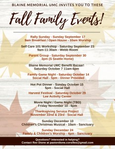 Blaine Memorial UMC Family Ministries Fall 2017