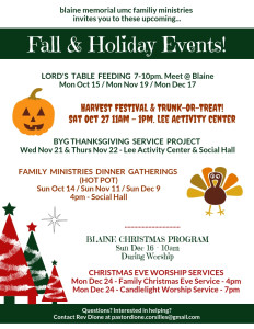 Blaine Memorial UMC Family Ministries Fall 2018