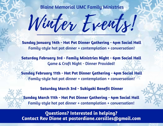 Blaine Memorial UMC Family Ministries Winter 2018 postcard